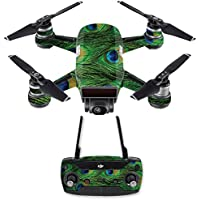 Skin for DJI Spark Mini Drone Combo - Peacock Feathers| MightySkins Protective, Durable, and Unique Vinyl Decal wrap cover | Easy To Apply, Remove, and Change Styles | Made in the USA