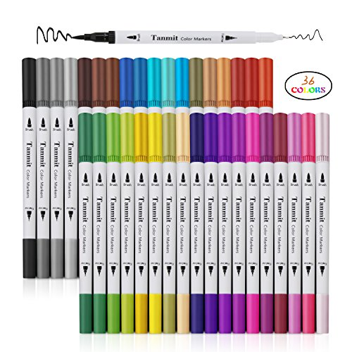 Dual Tip Brush Marker Pens, Tanmit 0.4 Fineliners & Brush Highlighter Pen Set of 36 for Adults Coloring Book Bullet Journal Note Taking Art Writing Pens