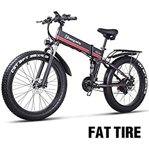 26 Pollici Fat Tire Electric Bike 1000W 48V Snow E-Bike Shimano 21 velocità Beach Cruiser Mens Women Mountain e-Bike Pedal Assist, Batteria al Litio Freni a Disco Idraulici 5 spesavip
