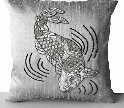 Amore Beaute Handcrafted Decorative Throw Pillow Cover In Grey Dupioni Art Silk Beads Sequin Embroidery Japanese Koi Carp Fish Luxury Valentines Day Gifts (12x16 ()
