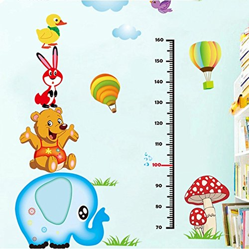 EMIRACLEZE Christmas Gift Holiday Shopping Animals Height Tall Sticker Lovely Elephant Waterproof Removable Mural Wall Stickers Wall Art Decal for Children Room Decor(Elephant1)