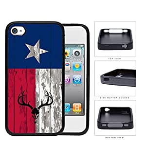 Deer Hunter Skull Bones Antlers on Texas Flag & Wood Background iPhone 4 4s Rubber Silicone TPU Cell Phone Case
