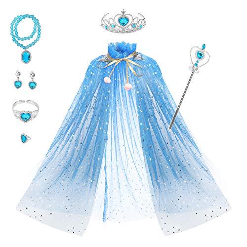 fedio Princess Cape Set 7 Pieces Girls Princess Cloak with Tiara Crown, Wand for Little Girls Dress up