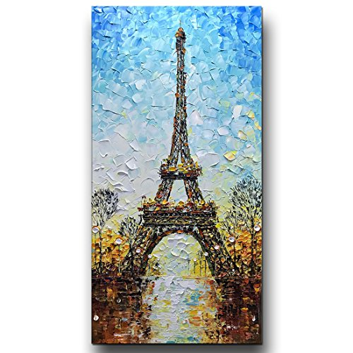 (Asdam Art Paintings- Eiffel Tower 3D Paintings On Canvas Landscape Wall Art 100% Hand Painted Modern Large Artwork Vertical Paintings(24x48inch))