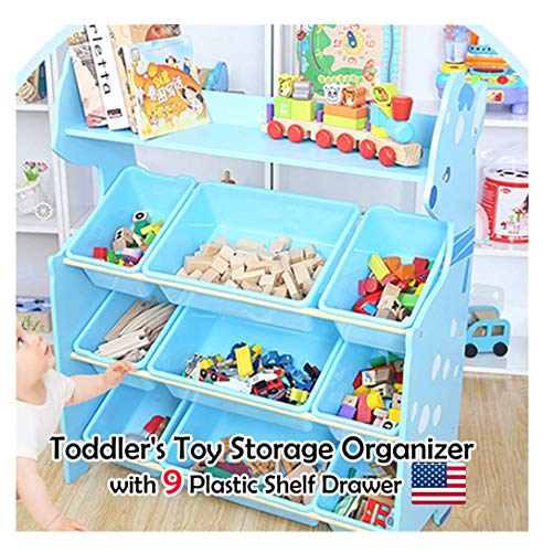 Hstore Toy Storage Organizer for Kids Collection Rack of Children Deluxe Plastic Bookshelf and Basket Frame Sundries with 9 Toy Organizer Bins Bins ()