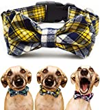 Dog and Cat Collar with Bow Tie - Adjustable 100% Cotton Design for Big Dog Puppy Cat - Cute Fashion Dog and Cat Collar with Bow Ties - Red,Brown, Blue,Green,Yellow Plaid Stripe Pattern (Yellow plaid)