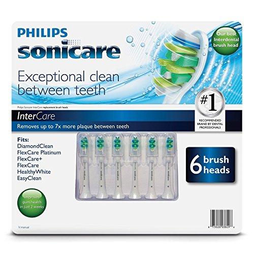 Le remplacement des balais Philips Sonicare Intercare chefs - 6 pack (Fit DiamondClean, FlexCare Platinum, FlexCare +, FlexCare, HealthyWhite, EasyClean)