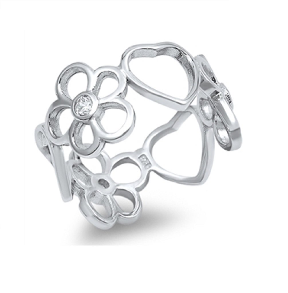 CloseoutWarehouse Cubic Zirconia Flower Of Love Resigner Ring Sterling Silver