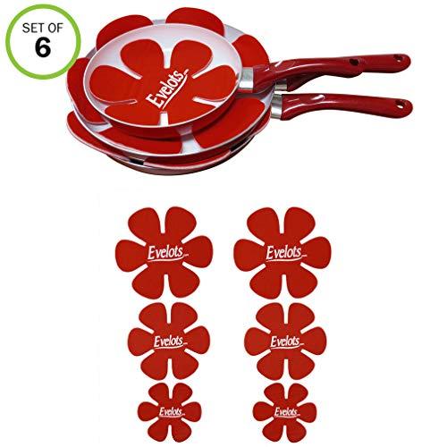 (Evelots Felt Dish & Pan Scratch Protectors -Ceramic-Glass-Cookware-Divider-Set/6)