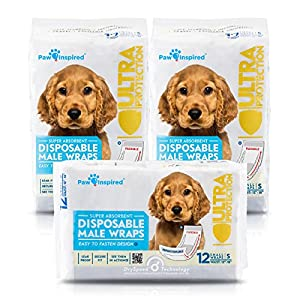 36ct Paw Inspired Ultra Protection Disposable Male Wraps (Belly Bands), Small