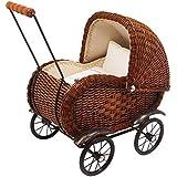 """Puppenwagen """"Elisabeth""""  im nostalgischen Design aus Holz / Rattan Geflecht, mit beweglichem Verdeck inkl. Wäsche, für anspruchsvolle Puppenmuttis ab 3 Jahre"""