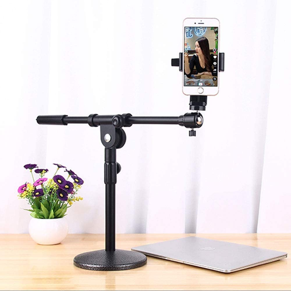 Mobile Live Broadcast Shelf Wireless Weighted Metal Base Stand with Universal Desktop Stand-All Smartphones EAHKGmh Phone Holder Desktop Mobile Stand with Adjustable Angle Design