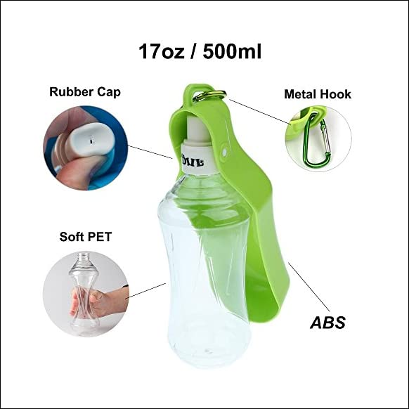Portable Dog Travel Water Bottles for Walking Running Hiking Outdoor, Health and Safety Quality Material- 17oz-Green