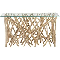 Deco 79 37782 Teak Branch Glass Console Table, 51 x 30