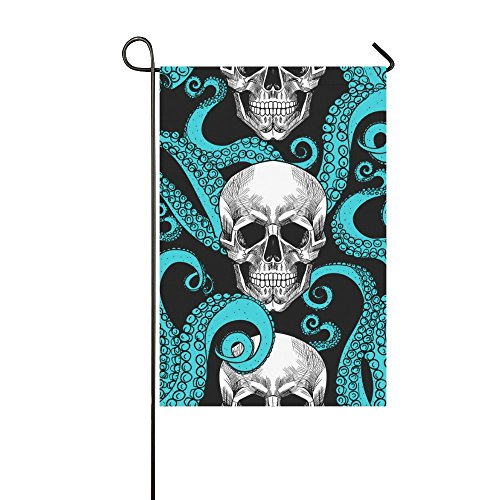 Fantasy Design Octopus And Skull Polyester Garden Flag Banne