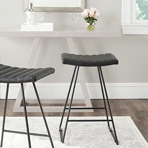 Safavieh Home Collection Akito Mid-Century Modern Black 26-inch Counter Stool Set of 2