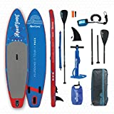 Aquaplanet 10ft 6' x 15cm PACE Stand Up Paddleboard - Incl: SUP, Hand Air Pump w/Pressure Gauge, Adjustable Aluminum Floating Paddle, Repair Kit, Rucksack, Coiled Leash & 4 Kayak Seat Ring Fittings