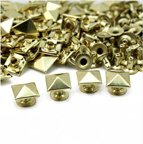 50pcs 8mm Gold Pyramid Rivet Rapid Rivets Studs Conical Shoes Decoration RV438