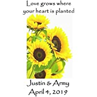 Personalized Wedding Favor Wildflower Seed Packets Sunflower Burst Design 6 verses to choose from Set of 100