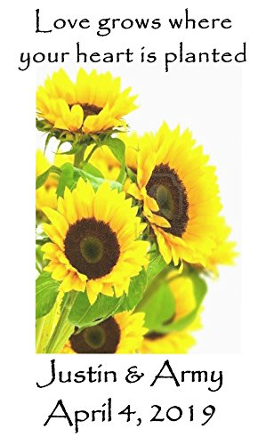 Personalized Wedding Favor Wildflower Seed Packets Sunflower Burst Design 6 verses to choose from Set of ()