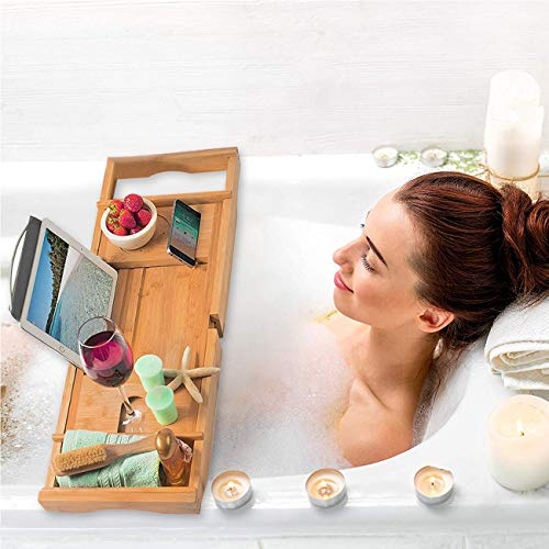 Bamyko Wood Luxury Bathtub Caddy Tray, Bamboo Bath Tray with Wine and Book Holder, Waterproof Cloth, Extendable Non Slip Sides, Tablet Holder, Cellphone Tray, Bonus Free Soap Holder