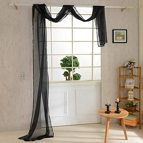 (WUBODTI Solid Black Window Panel Sheer Voile Scarf Curtain,Window Treatments for Bedroom Living Room Wedding Beautiful Elegant Home Decoration Luxury Drapes Scarf Valance Curtain,32x216 inch Long)