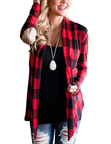 Minipeach Womens Casual Plaid Print Long Sleeve Elbow Patch Draped Open Front Cardigan Sweater Coverup Coat Tops Outwear,Small,Black