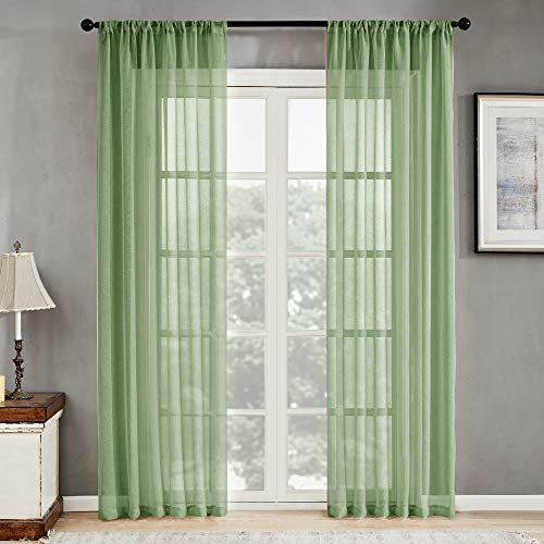 MRTREES Sheer Curtains Green 84 inches Long Living Room Curtain Sheers Bedroom Drapes Voile Window Curtain Panels Sliding Glass Door Rod Pocket 2 Panels Light Filtering
