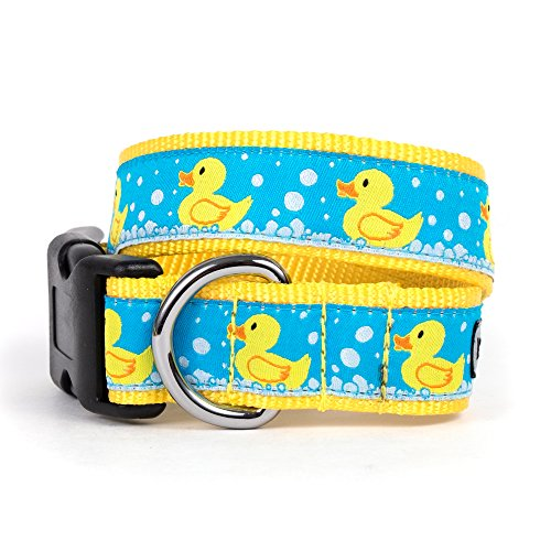 The Worthy Dog   Yellow Rubber Duck Ducky Bubble Bath  Adjustable Designer Pet Dog Collar , Medium, Blue
