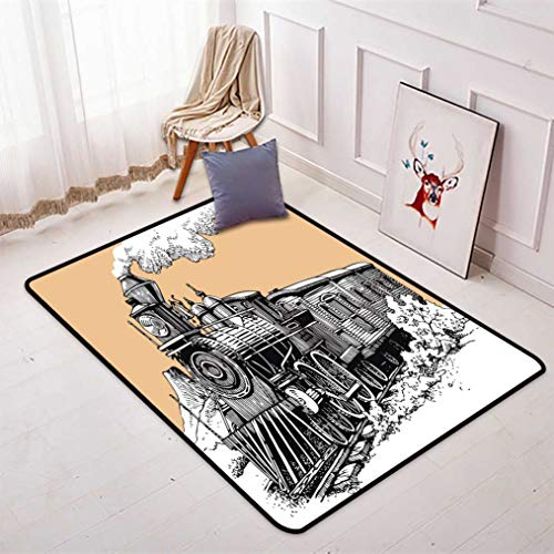 Antique Train Doormats Sofa Mats, Northern Type Steam Train National Railways Hand Drawn Image Low Profile Quick Dry Floor Mats with Non-Slip Back, 16