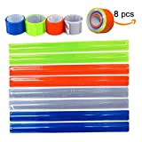 8 Pcs Bicycle Snap Reflective Night Band,Loop Hook, Pets Walking Safety Bands,Visibility Bike Reflector Tape for Running Jogging Wristbands Belt Armbands Ankle Straps
