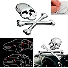 CHAMPLED 1pcs Car Skeleton Side Silver 3D Metal Decal Sticker Wolf Head Logo Badge Emblem For FORD CHRYSLER CHEVY CHEVROLET DODGE CADILLAC JEEP GMC PONTIAC HUMMER LINCOLN BUICK