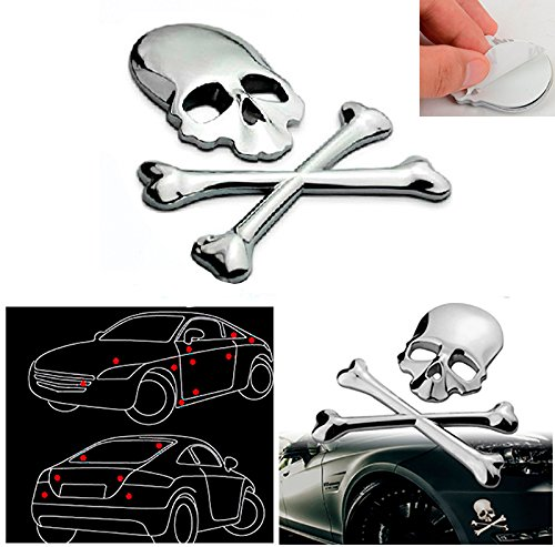 CHAMPLED 1pcs Car Skeleton Side Silver 3D Metal Decal Sticker Wolf Head Logo Badge Emblem For FORD CHRYSLER CHEVY CHEVROLET DODGE CADILLAC JEEP GMC PONTIAC HUMMER LINCOLN BUICK - Pontiac G8 Stripes