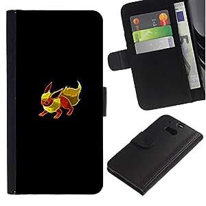 Protector de cuero de la PU de la cubierta del estilo de la carpeta del tirón BY RAYDREAMMM - HTC One M8 - Eevee P0kemon