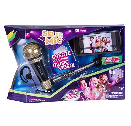 SelfieMic with Adjustable Selfie Stick With Working Microphone, Earpiece and Free App (Selfie Mic Music Set In Black & Gold)
