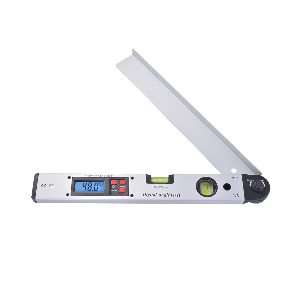 16 inch Digital Angle Finder with LCD Display, 0-225 Degree Protractor Dual Spirit Level for Horizontal Vertical Measurement