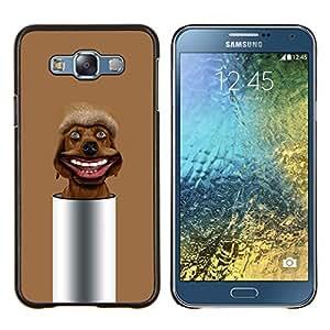 TECHCASE---Cubierta de la caja de protección para la piel dura ** Samsung Galaxy E7 E700 ** --Marrón Mutt perro perdiguero