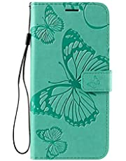 Amocase Wallet Leather Case with 2 in 1 Stylus for Samsung Galaxy A52 4G/5G,Premium Strap 3D Butterfly Magnetic PU Leather Stand Shockproof Card Slot Case for Samsung Galaxy A52 4G/5G - Green
