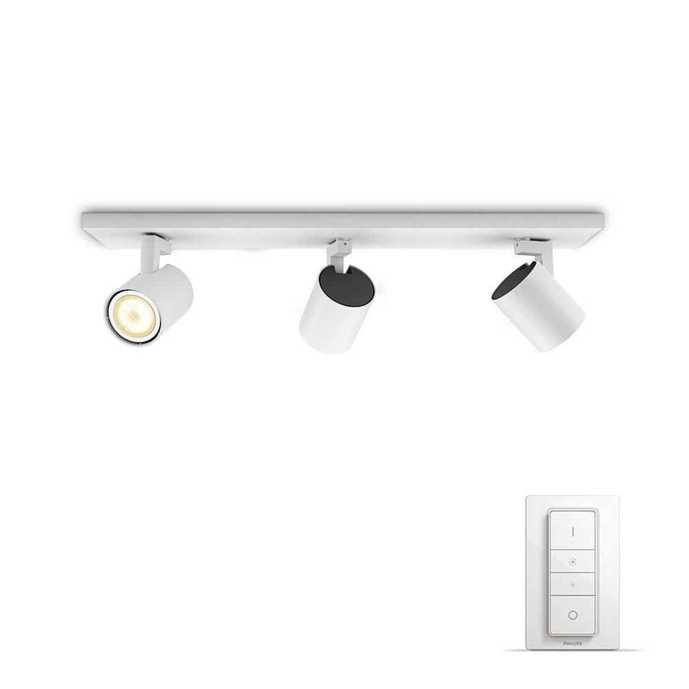Philips Hue White ambiance Runner - Foco triple LED blanco con mando, Iluminación inteligente,
