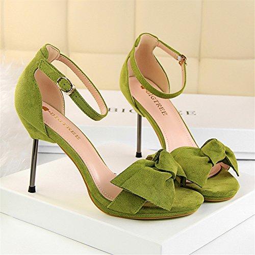 z&dw Elegantes tacones dulces tacon de gamuza impermeables de mesa de proa sandalias Verde