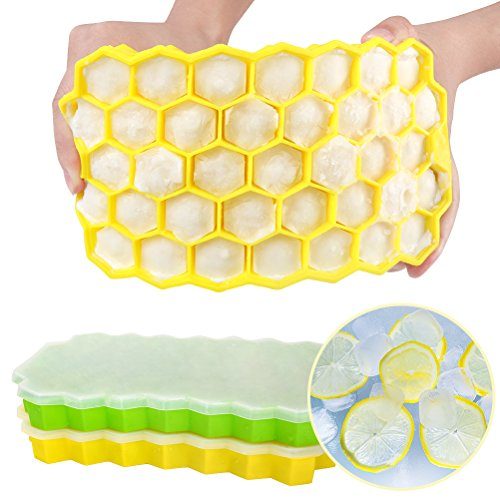 Ice Cube Trays Set of 2 - Flexible Silicone Ice Tray - Ice Cube Mold with Spill-Resistant Removable Lid, Easy Release Ice Cube Containers, BPA Free, Stackable Durable and Dishwasher Safe(Green/Yellow) by Baker Boutique