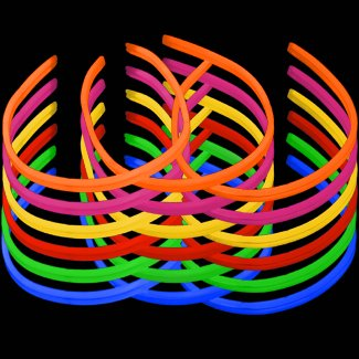 Lumistick 22 Inch Twister Glowstick Necklaces | Bendable Glow Stick Jewelry Party Pack | Available Bulk and Neon Color Variety | Kid Safe Light-Up Necklaces | 12 Hour Glow (Color Assortment, 50)