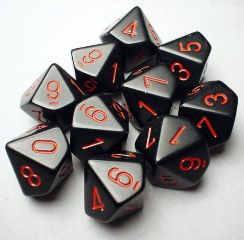 Chessex Dice Sets: Opaque Black with Red - Ten Sided Die d10 Set (10) (26218) (D10 Set)