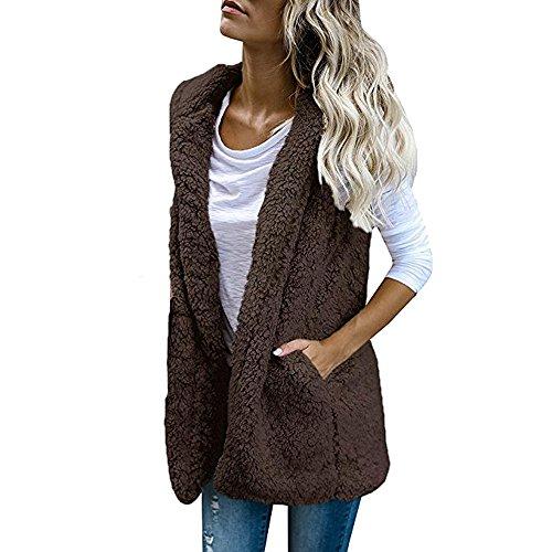 JESPER Womens Puffer Vest Winter Warm Plush Hoodie Outwear Casual Coat Faux Fur Zip Up Sherpa Coffee