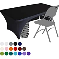 Eurmax Spandex Table Cover 4 ft. Fitted 30+ Colors Polyester Tablecloth Stretch Spandex Table Cover-Table Toppers,4 FT Table Cover Open Back (4Ft, Black)