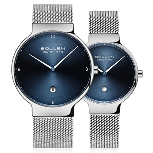 SOLLEN His and Hers 6.95mm Thickness Quartz Analog Waterproof Couple Wrist Watch 2 pcs for Lovers (Blue) by SOLLEN