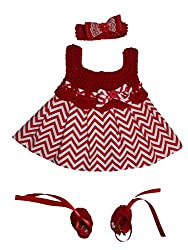 MiC Crafts Baby Girl 3 Piece Cheveron Dress Set 0-3 Month Red and White