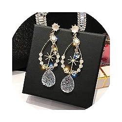 Long Rhinestone Crystal Pearl Dangle Earring