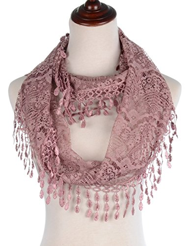 (BYOS Womens Fashion Victoria Vintage Inspired Fan Pattern Lace Infinity Scarf Loop (Dusty Pink))