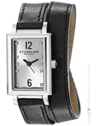 Stuhrling Original Women's 810.SET.01 Vogue Audrey Paris Swiss Quartz Stainless Steel Wrap-Around Leather Additional Strap Watch Set